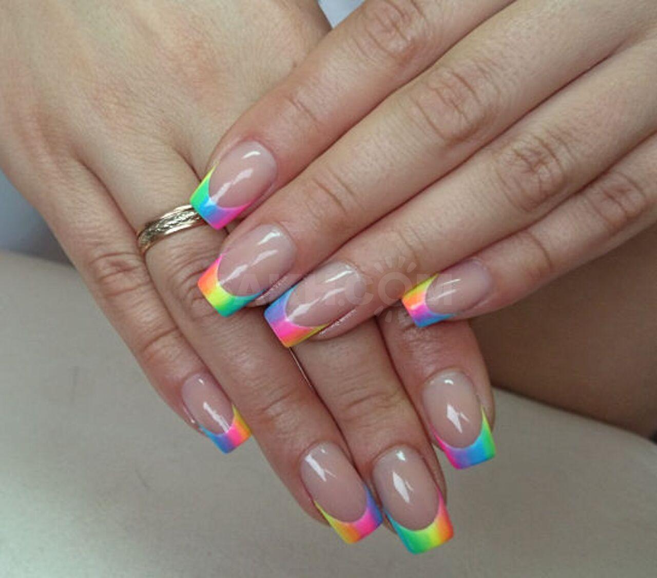 для наращивание ногтей радуга фото довга