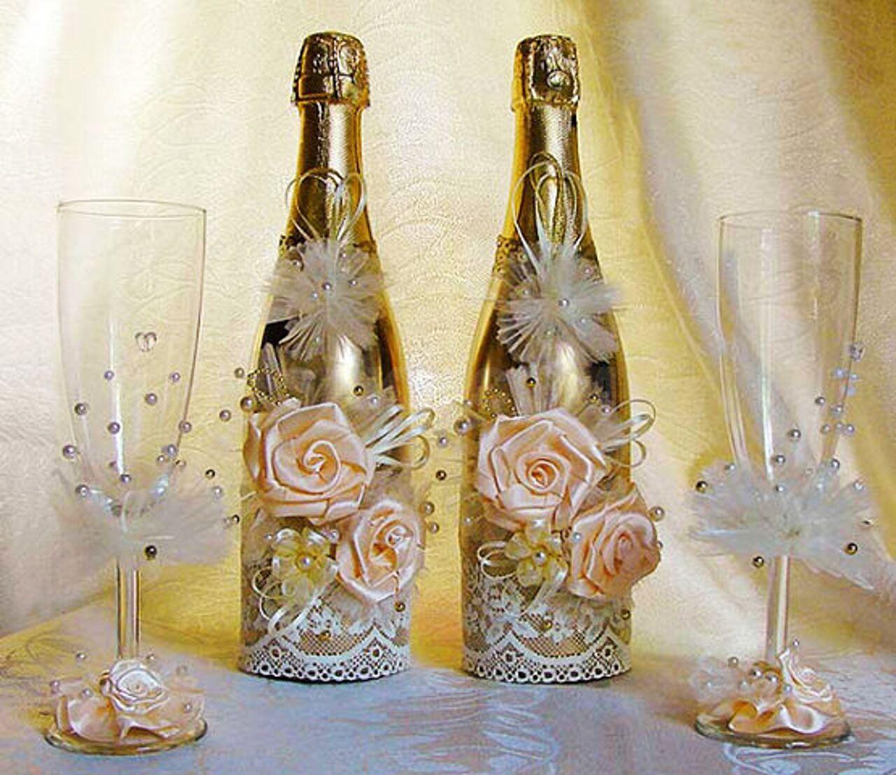 внешность, неприхотливость, украшение свадебных бокалов и бутылок фото свою