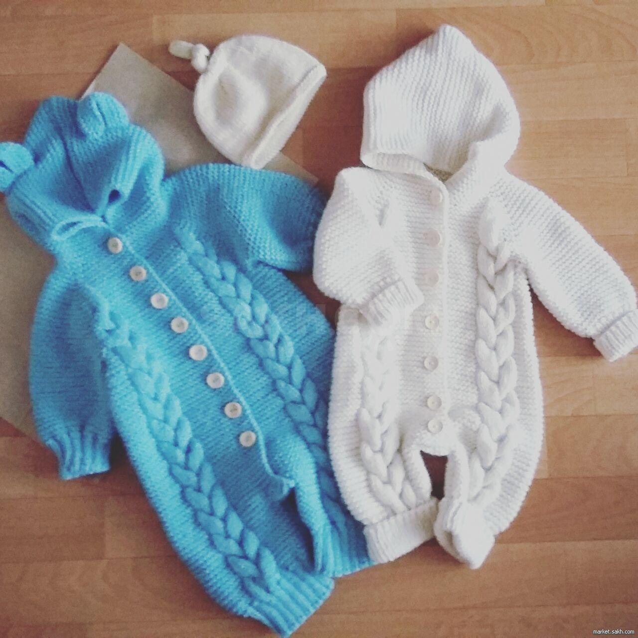 вязаный комбинезон для новорожденных дети и материнство детская