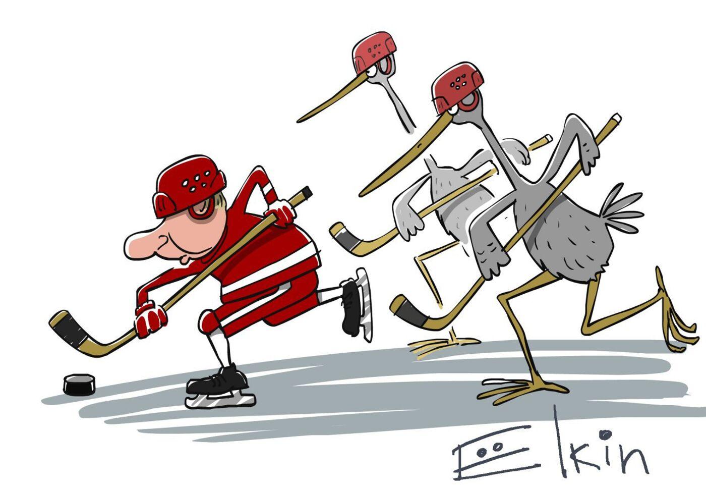 Открытки, смешные рисунки хоккей