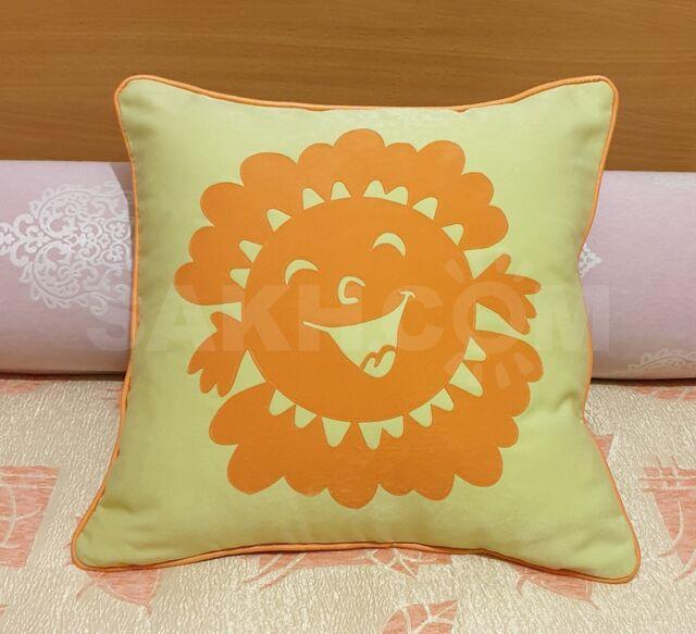 Наволочка декоративная зеленая, Солнышко оранжевое.