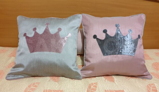 Комплект декоративных наволочек, Корона, розовая и серая. 2 шт.
