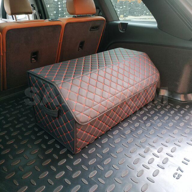 Кейс в багажник авто 80 см прошитый в клетку (красная строчка кожзам)