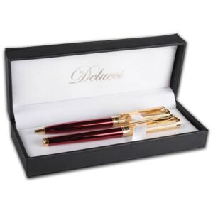 Набор ручек Delucci ручка шариковая 1мм и ручка-роллер 0,6мм синие, корпус вишня/золото