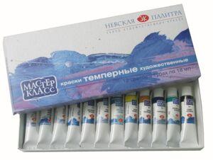 Краски темперные Мастер-Класс, 12 цветов, 18мл/туба, картон