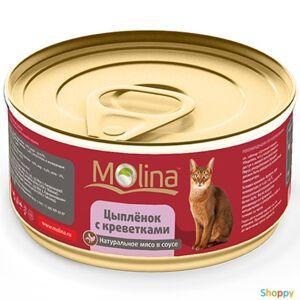 Molina - консервы для кошек Цыпленок с Креветками в соусе (80 гр)