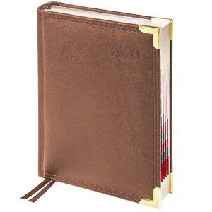 Ежедневник датированный 2020г., А6, 184л., кожа, Delucci, гладкая кожа, зол. срез, коричневый