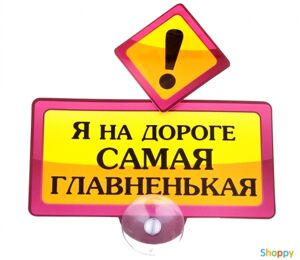 Табличка на присоске Я на дороге самая главненькая
