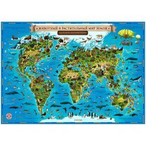 Карта мира для детей Животный и растительный мир Земли Globen, 590*420мм, интерактивная