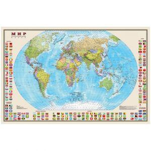 Карта Мир политическая DMB, 1:30млн., 1220*790мм, с флагами