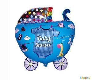 Голубой шар на рождения малыша Коляска