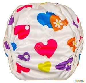 Непромокаемые многоразовые трусики для бассейна/ плавания Разноцветные сердечки. Размер: 4-18 кг