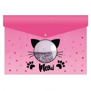 Папка-конверт на кнопке Феникс+ Кот, А4, 180мкм, дно с расширением, пластиковое окно с пайетками
