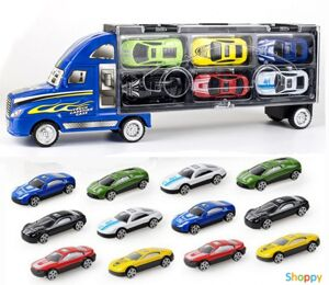 Синий трейлер для перевозки автомобилей