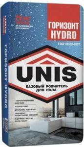 Цементная стяжка (ровнитель толстый) 10-120 мм. Горизонт UNIS HYDRO 25 кг.