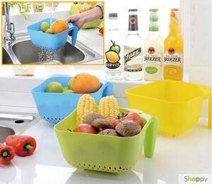 Корзинка-дуршлаг для фруктов и овощей розовая