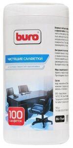 Салфетки Buro BU-Tsurl, для пластиковых поверхностей и офисной мебели, влажные, 100 шт., туба