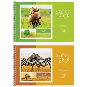 Альбом для рисования 48л., А4, на гребне ArtSpace Животные. В мире животных