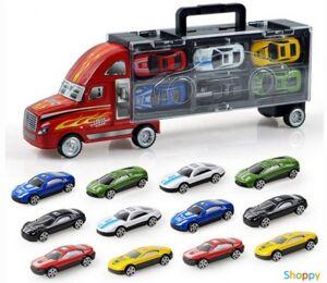 Красный трейлер для перевозки автомобилей