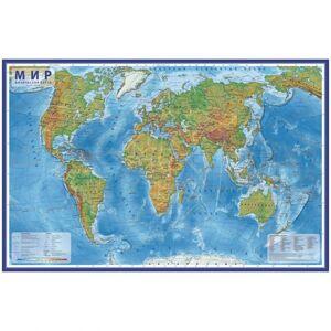 Карта Мир физическая Globen, 1:29млн., 1010*660мм, интерактивная, европодвес