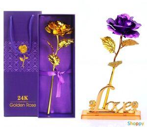 Фиолетовая роза на подставке в подарочной упаковке