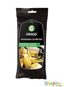 Салфетка влажная Grass для ухода за кож. салоном с воском карнауба