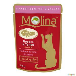 Molina - паучи для кошек Лосось и Тунец в соусе (100 гр)