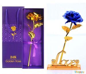 Синяя роза на подставке в подарочной упаковке