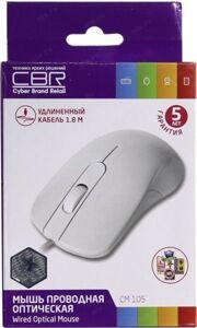 Мышь CBR CM 105 White USB Мышь, оптика, 1200dpi, офисн., провод 1, 8м
