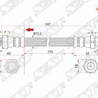 Шланг тормозной передний (Таиланд) MMC DELICA TRUCK/L200 94-99/PAJERO/