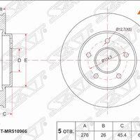 Диск тормозной перед MITSUBISHI AIRTRAK/OUTLANDER CU4/5W/DIAMANTE F31/