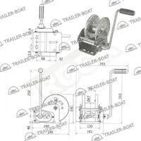 Лебедка ручная с автостопом для прицепа Rock 3500 lbs (1588 кг)