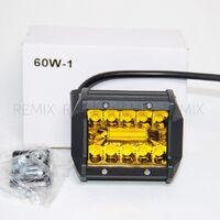 Светодиодная LED фара 60W-1 (желтый дополнительный свет, прямоугольная