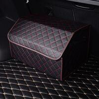 Кейс в багажник авто 60см прошитый в клетку (красная строчка кожзам)