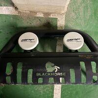 Кенгурятник Black horse / Фары IPF Prado 150